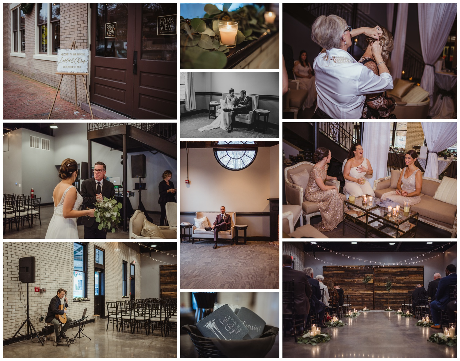 The bride and groom relax inside with family before their wedding ceremony in downtown Raleigh, photos by Rose Trail Images.