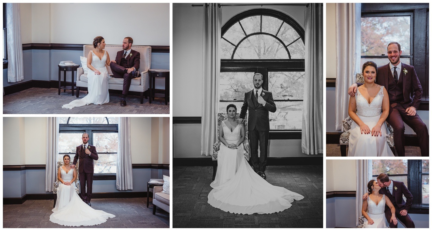 The bride and groom take inside portraits before their wedding ceremony in downtown Raleigh, photos by Rose Trail Images.
