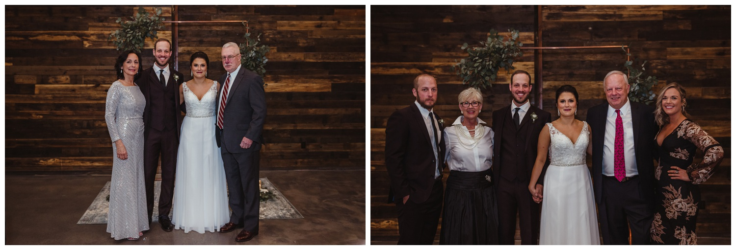 The bride and groom take family photos after their indoor wedding ceremony in downtown Raleigh, photos by Rose Trail Images.