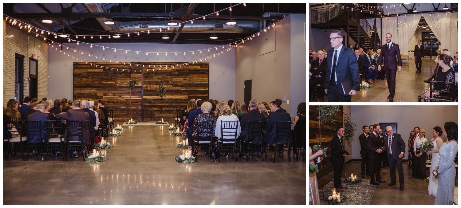 The bride and groom getting ready for their indoor wedding ceremony in downtown Raleigh, photos by Rose Trail Images.