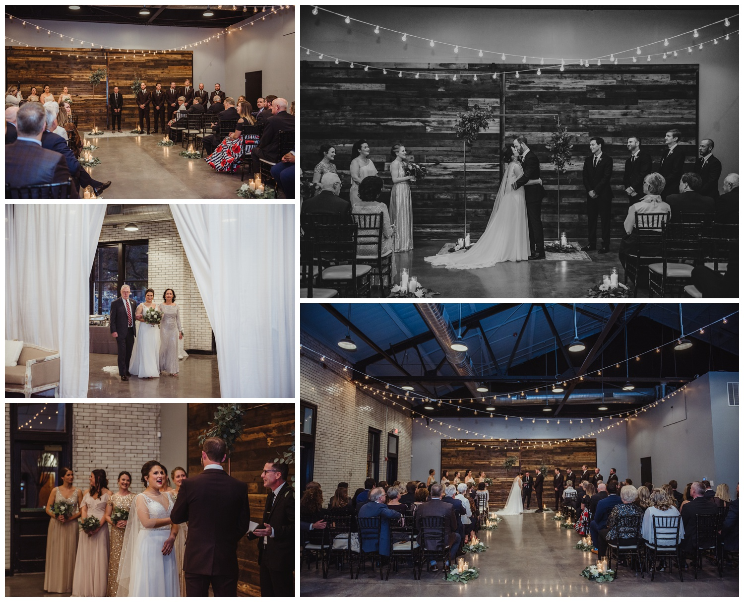 The bride and groom exchange vows during their indoor wedding ceremony in downtown Raleigh, photos by Rose Trail Images.