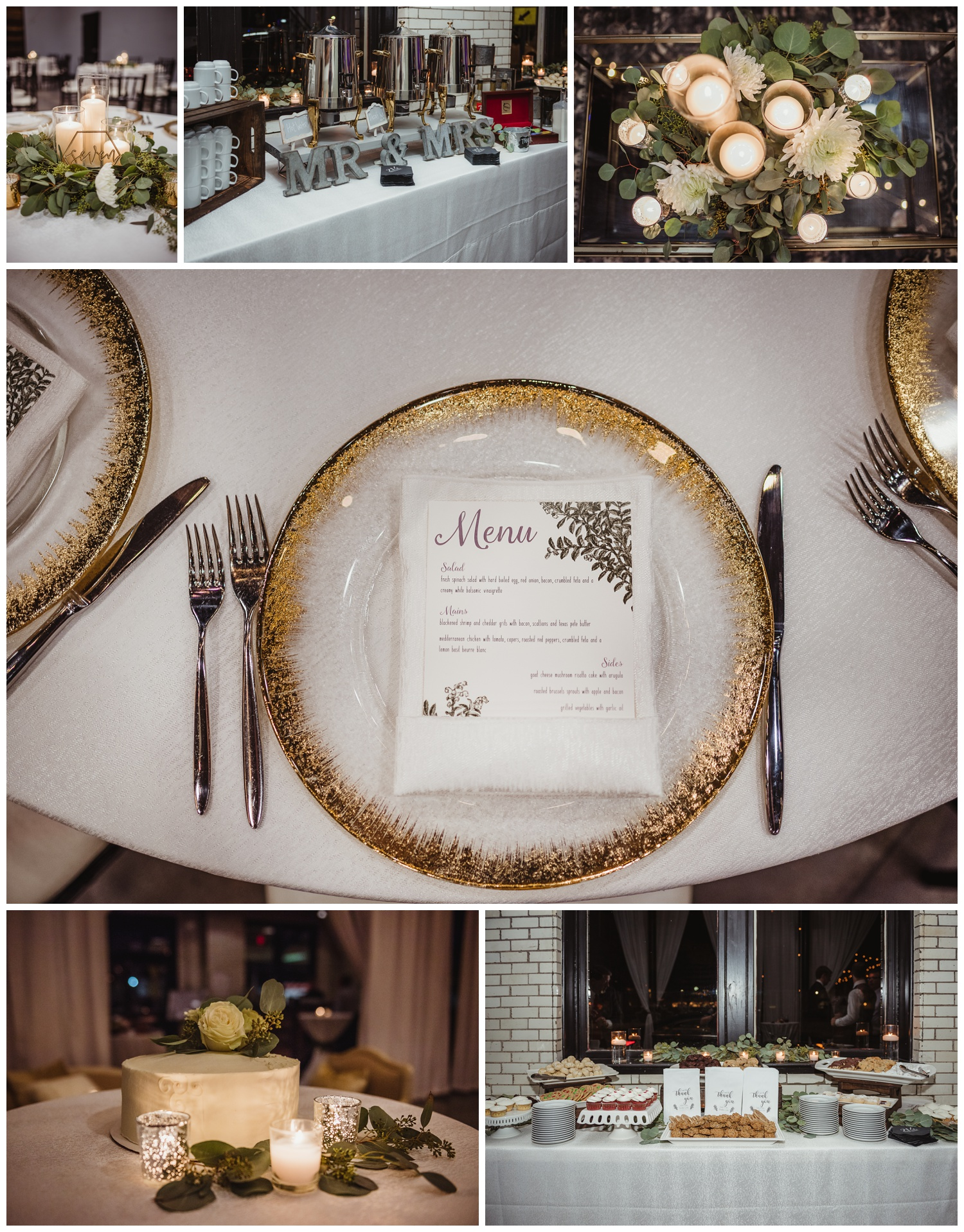 Wedding reception details in downtown Raleigh include gold chargers, lots of cookies, and a beautiful cake, photos by Rose Trail Images.