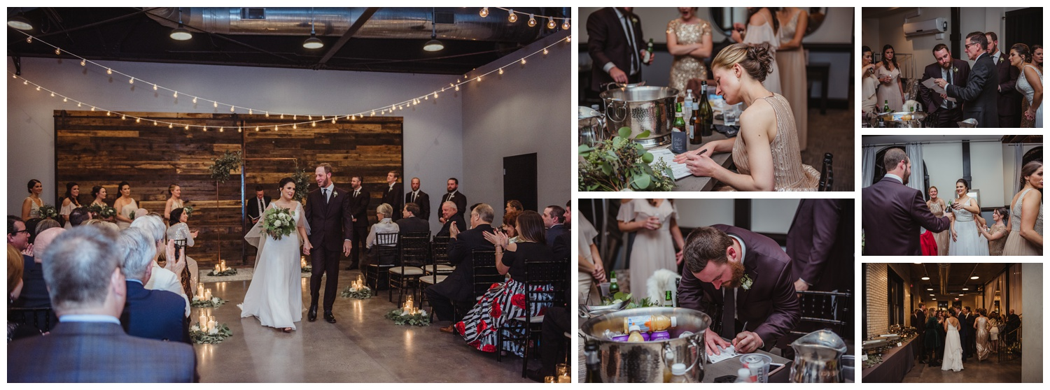 The bride and groom relax after their indoor wedding ceremony in downtown Raleigh, photos by Rose Trail Images.
