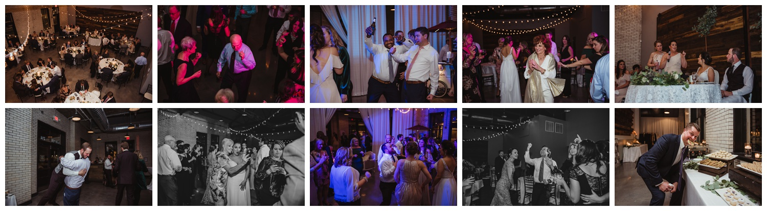 The bride and groom dance with their guests during their wedding reception in downtown Raleigh, photos by Rose Trail Images.