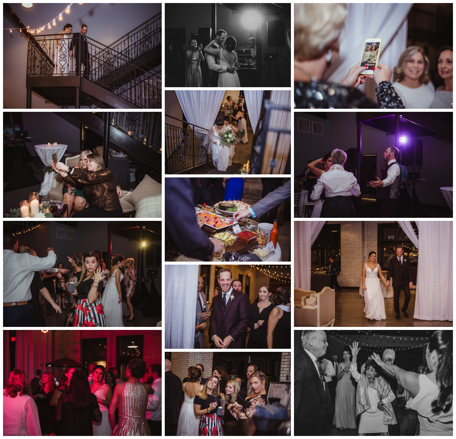 The bride and groom dance with their family and guests during their wedding reception in downtown Raleigh, photos by Rose Trail Images.