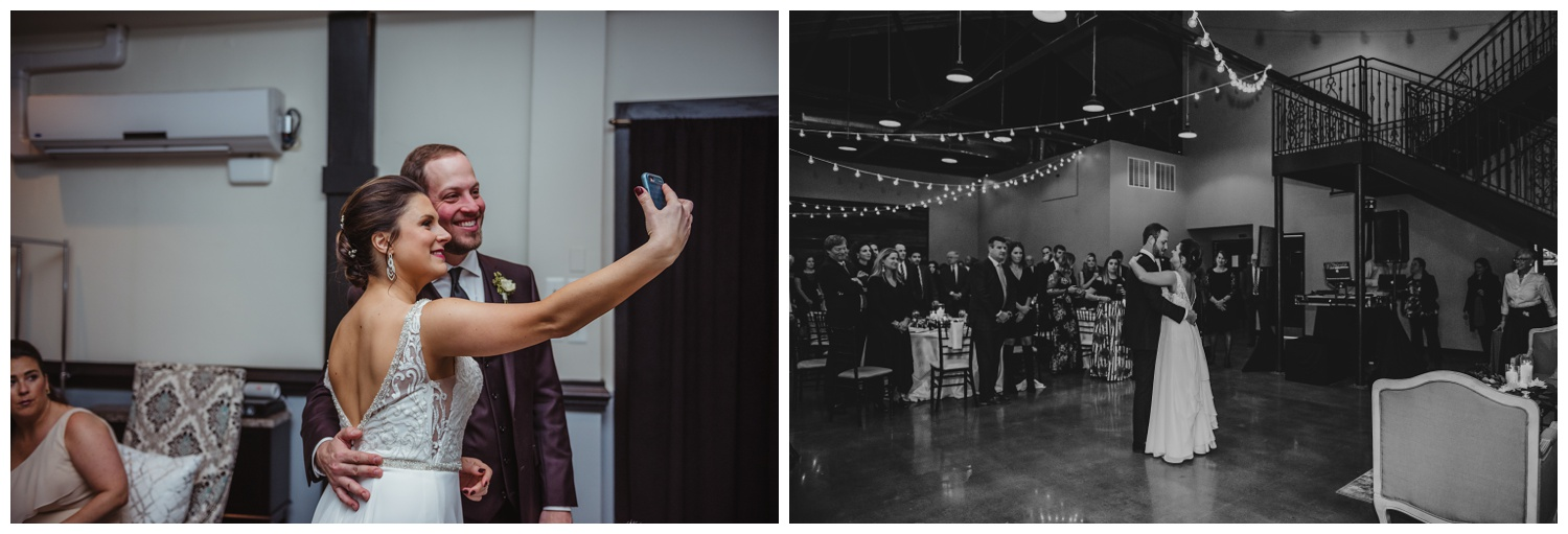 The bride and groom dance and take a selfie during their wedding reception in downtown Raleigh, photos by Rose Trail Images.