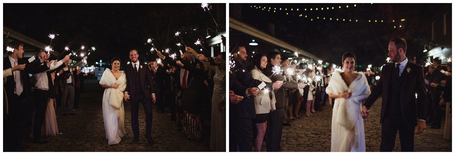 The bride and groom walked under the sparklers for their exits their wedding reception in downtown Raleigh, photos by Rose Trail Images.