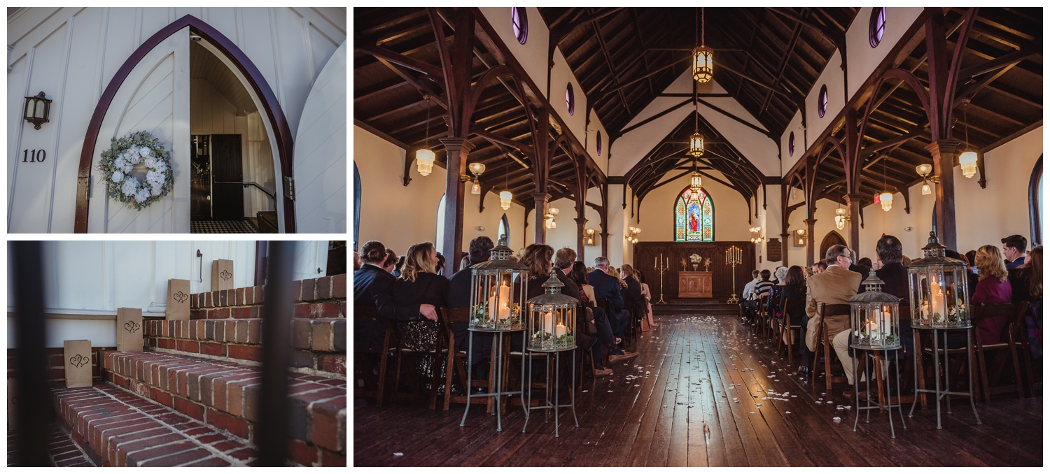 Wedding details of All Saints Chapel in Raleigh, North Carolina included paper bag lumineers, a white wreath, and lots of candles inside the chapel, pictures by Rose Trail Images.