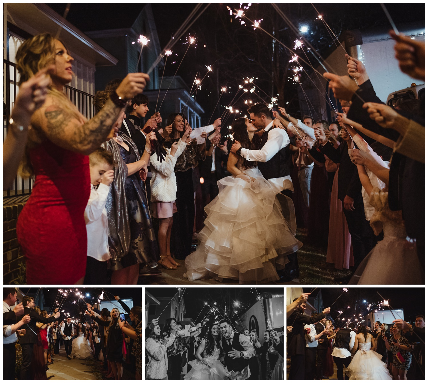 The bride and groom had a sparkler exit after their wedding reception at All Saints Chapel in Raleigh, North Carolina, pictures by Rose Trail Images.