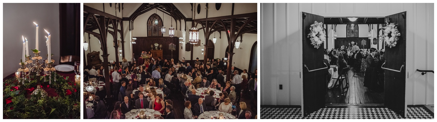 guests enjoyed dinner upstairs after the wedding ceremony at the All Saints Chapel in Raleigh, North Carolina, pictures by Rose Trail Images.