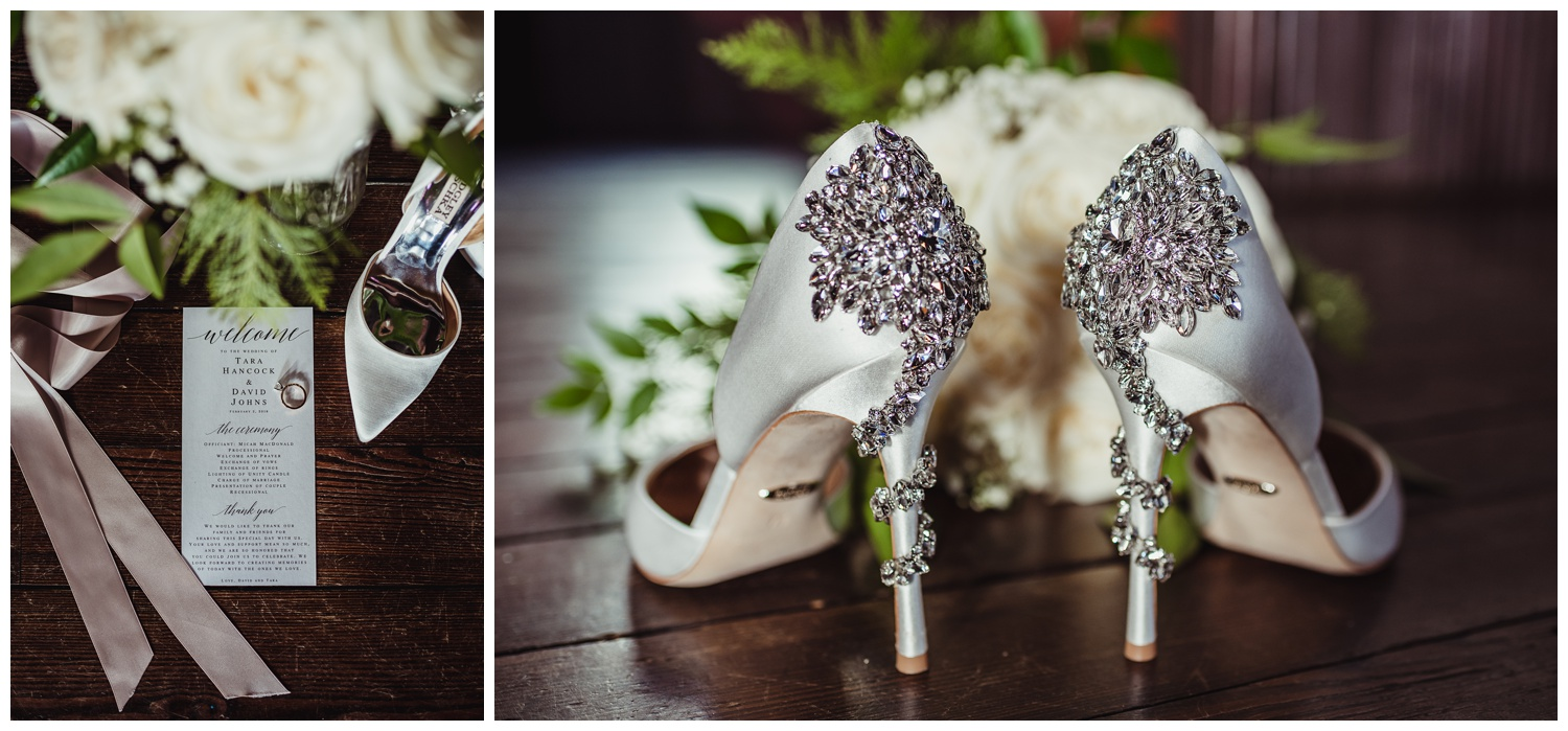 Details of the wedding include bejeweled Badgley Mischka heels, white roses, and the wedding rings at All Saints Chapel in Raleigh, North Carolina, pictures by Rose Trail Images.