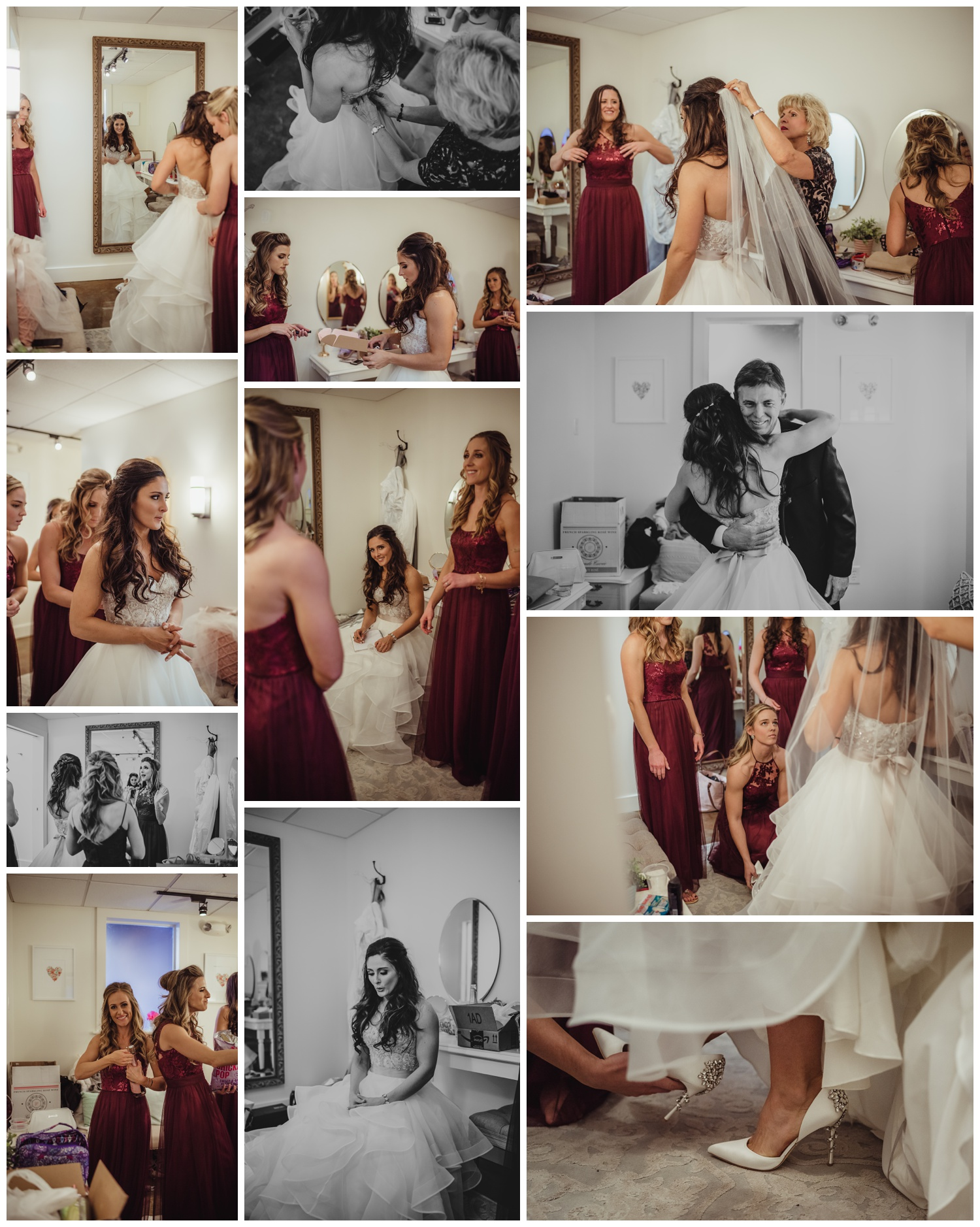 The bride got ready with all of her girls before her wedding ceremony at All Saints Chapel in Raleigh, North Carolina, pictures by Rose Trail Images.