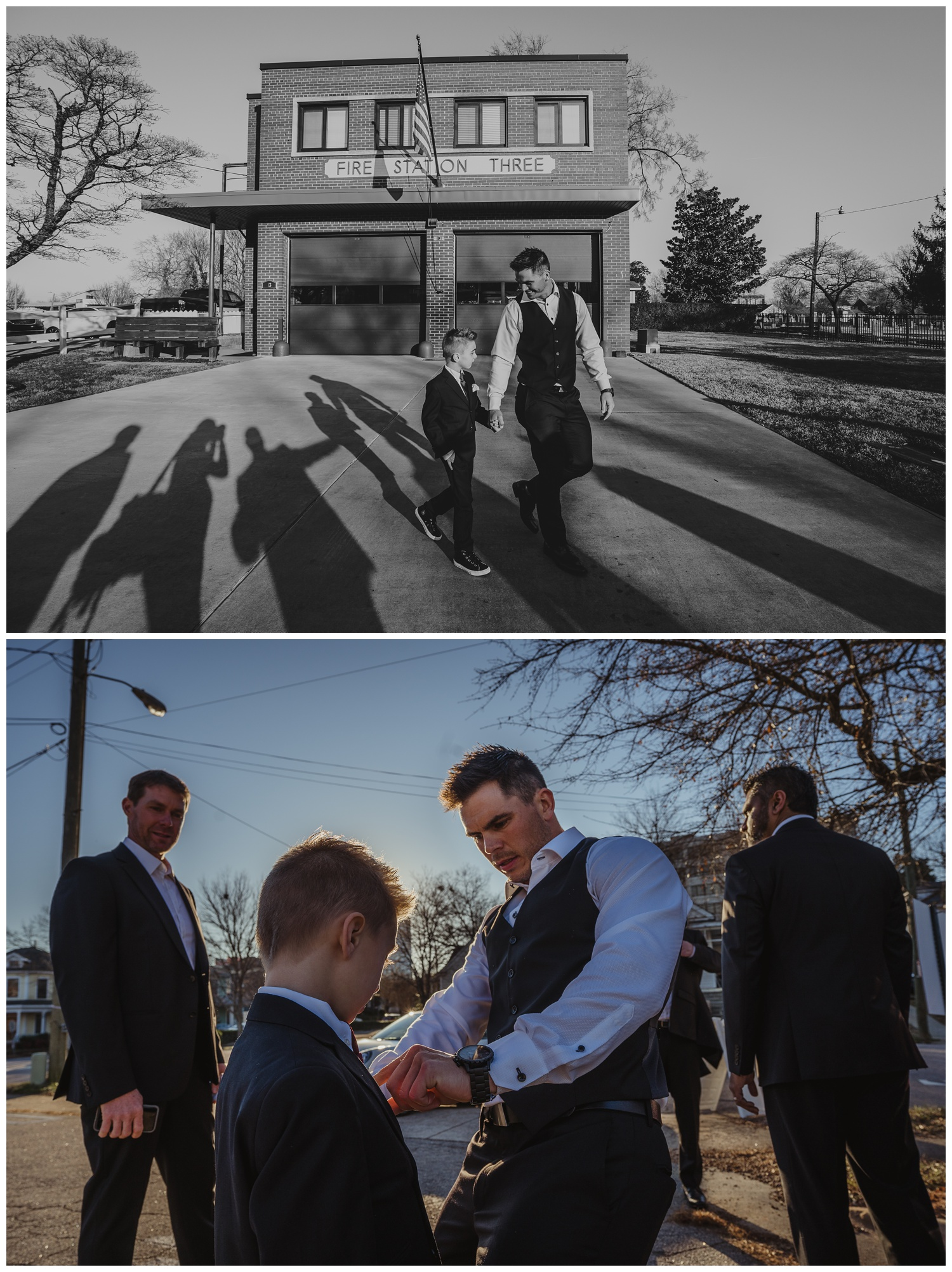 The groom walked with his young son outside before his wedding ceremony at All Saints Chapel in Raleigh, North Carolina, pictures by Rose Trail Images.