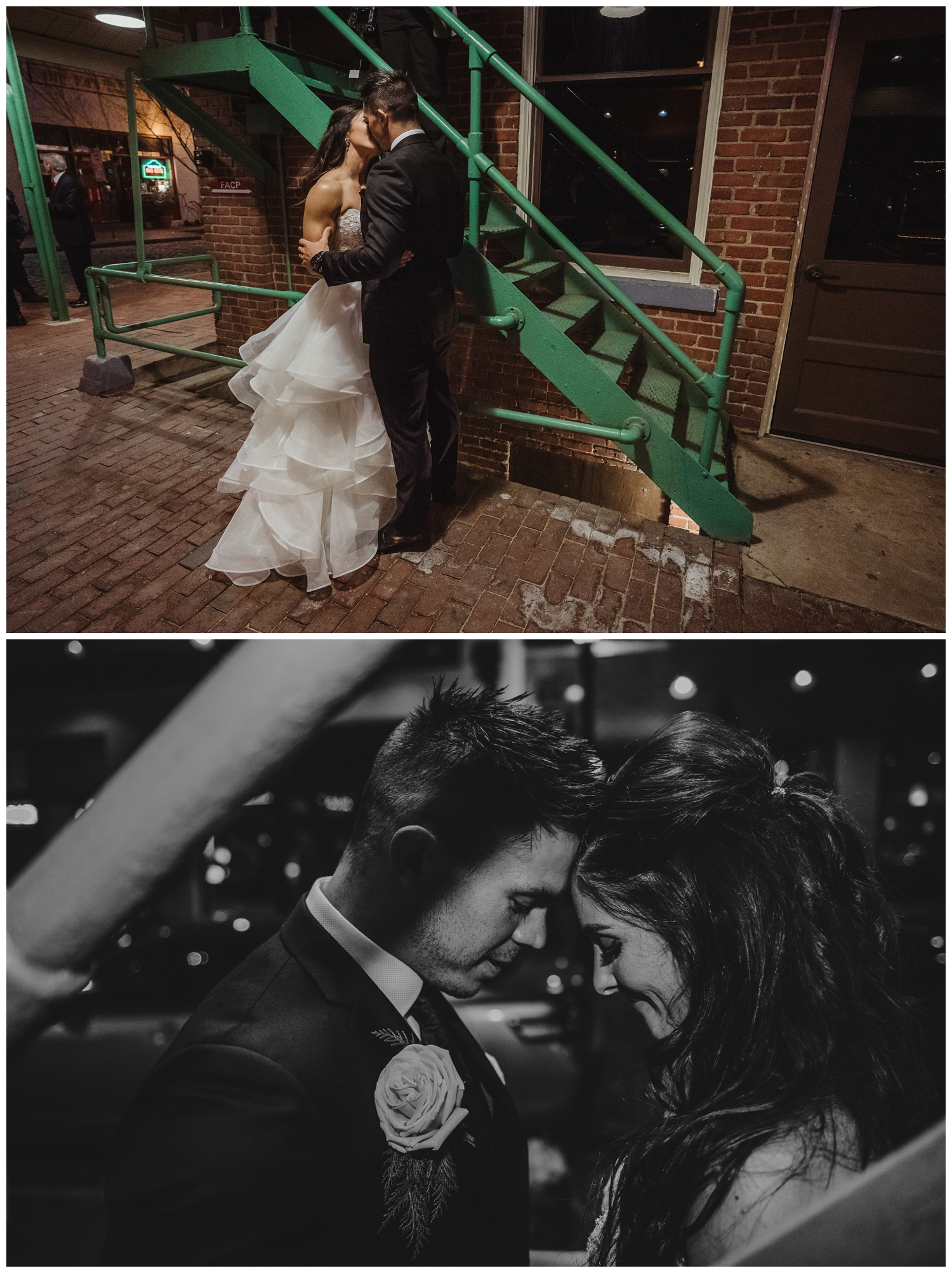 The bride and groom took bridal pictures at Market Hall after their wedding ceremony at All Saints Chapel in Raleigh, North Carolina, pictures by Rose Trail Images.