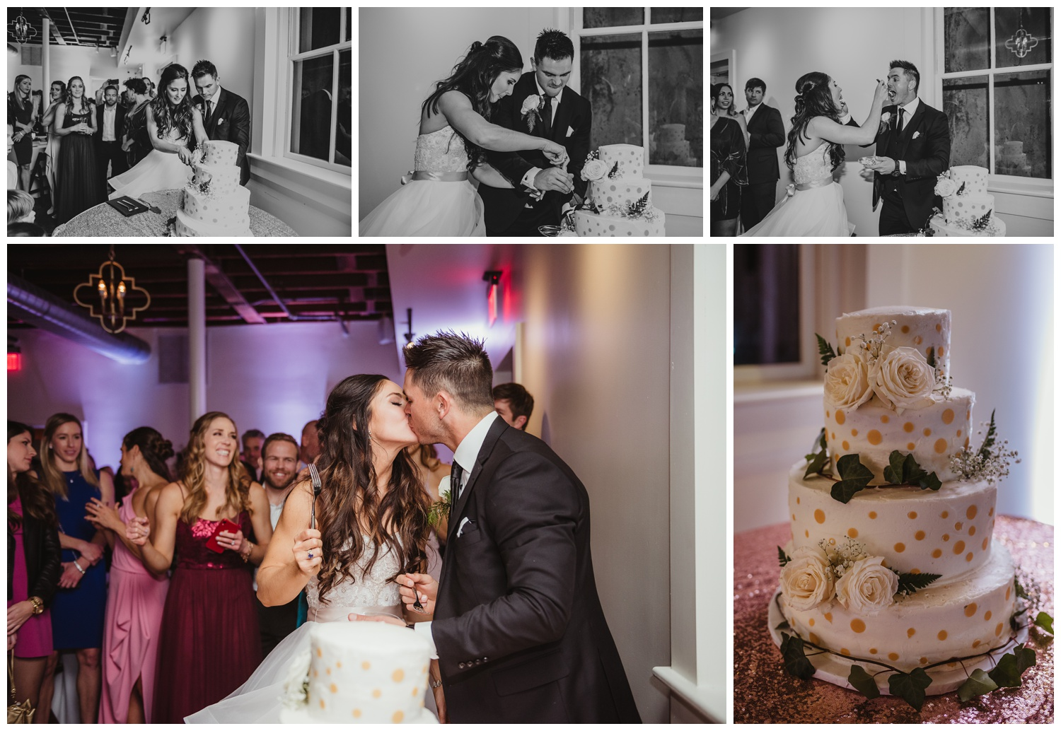 The bride and groom enjoyed cutting the cake with all of their guests after their wedding ceremony at All Saints Chapel in Raleigh, North Carolina, pictures by Rose Trail Images.
