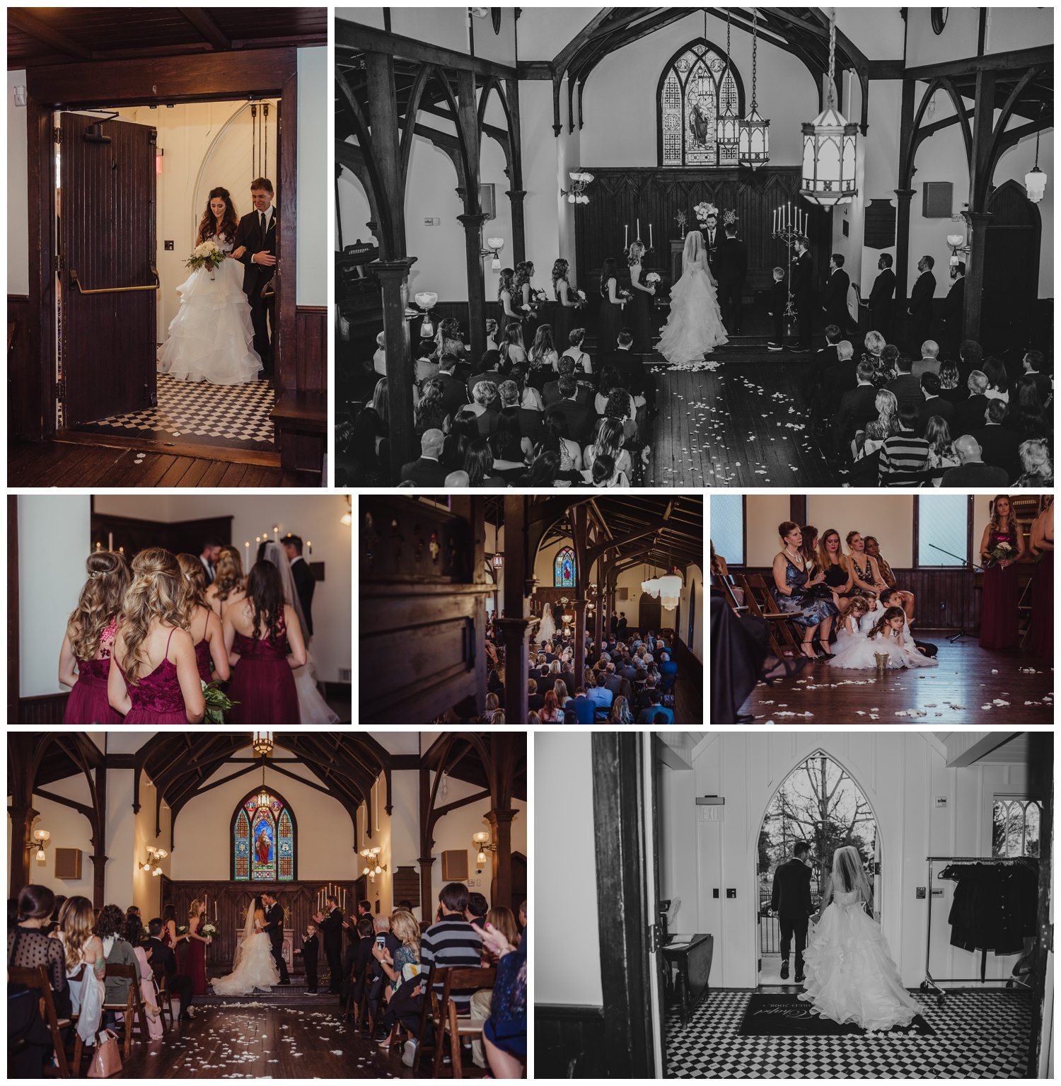 The wedding ceremony with cranberry accents, white flowers, and lots of guests was beautiful at the All Saints Chapel in Raleigh, North Carolina, pictures by Rose Trail Images.