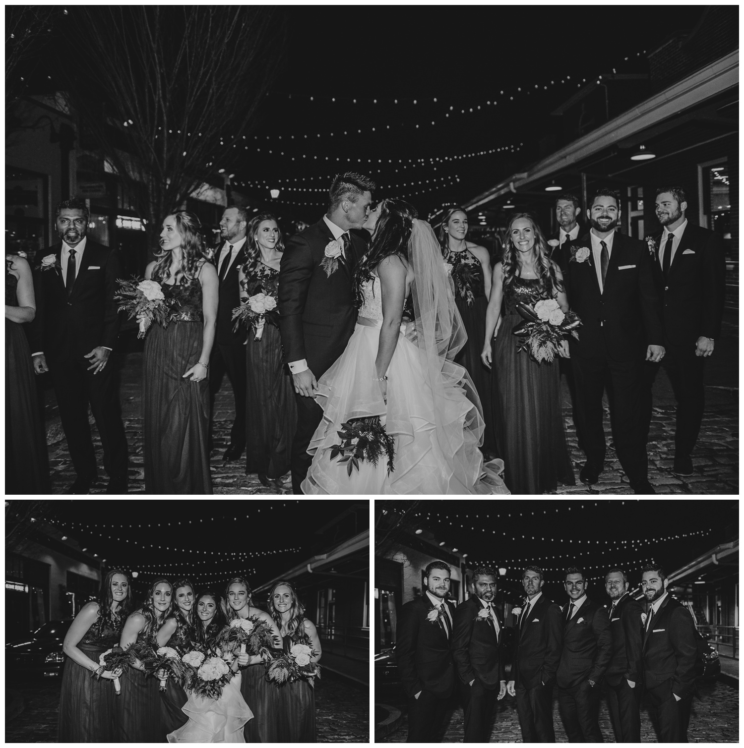 The bride and groom took bridal party pictures at Market Hall after their wedding ceremony at All Saints Chapel in Raleigh, North Carolina, pictures by Rose Trail Images.