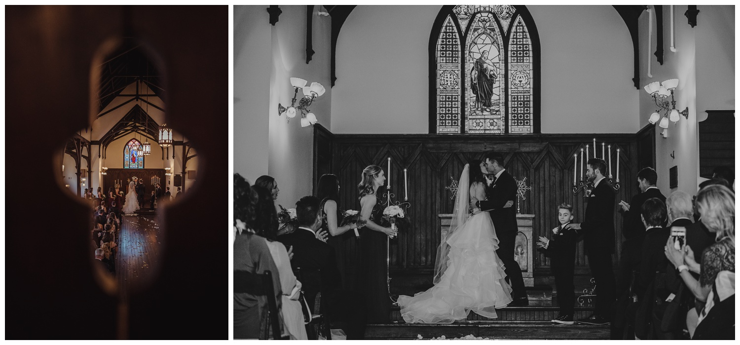The bride and groom have their first kiss during their wedding ceremony at All Saints Chapel in Raleigh, North Carolina, pictures by Rose Trail Images.