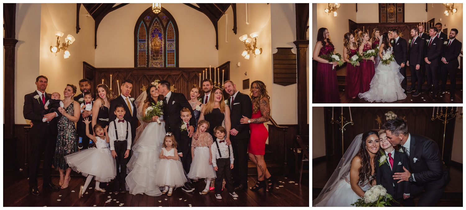 The bride and groom do family portraits inside after their wedding ceremony at All Saints Chapel in Raleigh, North Carolina, pictures by Rose Trail Images.