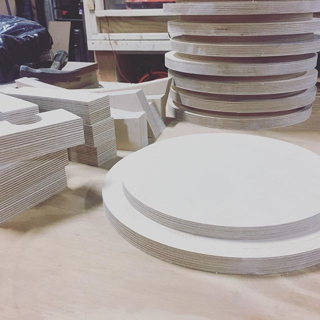 Jigs and caps, all cut and sanded for our friends at Eva Jensen Design LLC. Go to see their installation after it's installed in June in Socrates Park at Long Island City . . . . #longislandcity #cnc #art #installation #furnituredesign #design #finished