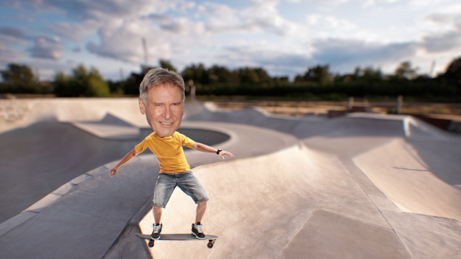 HARRISON FORD ON A SKATEBOARD