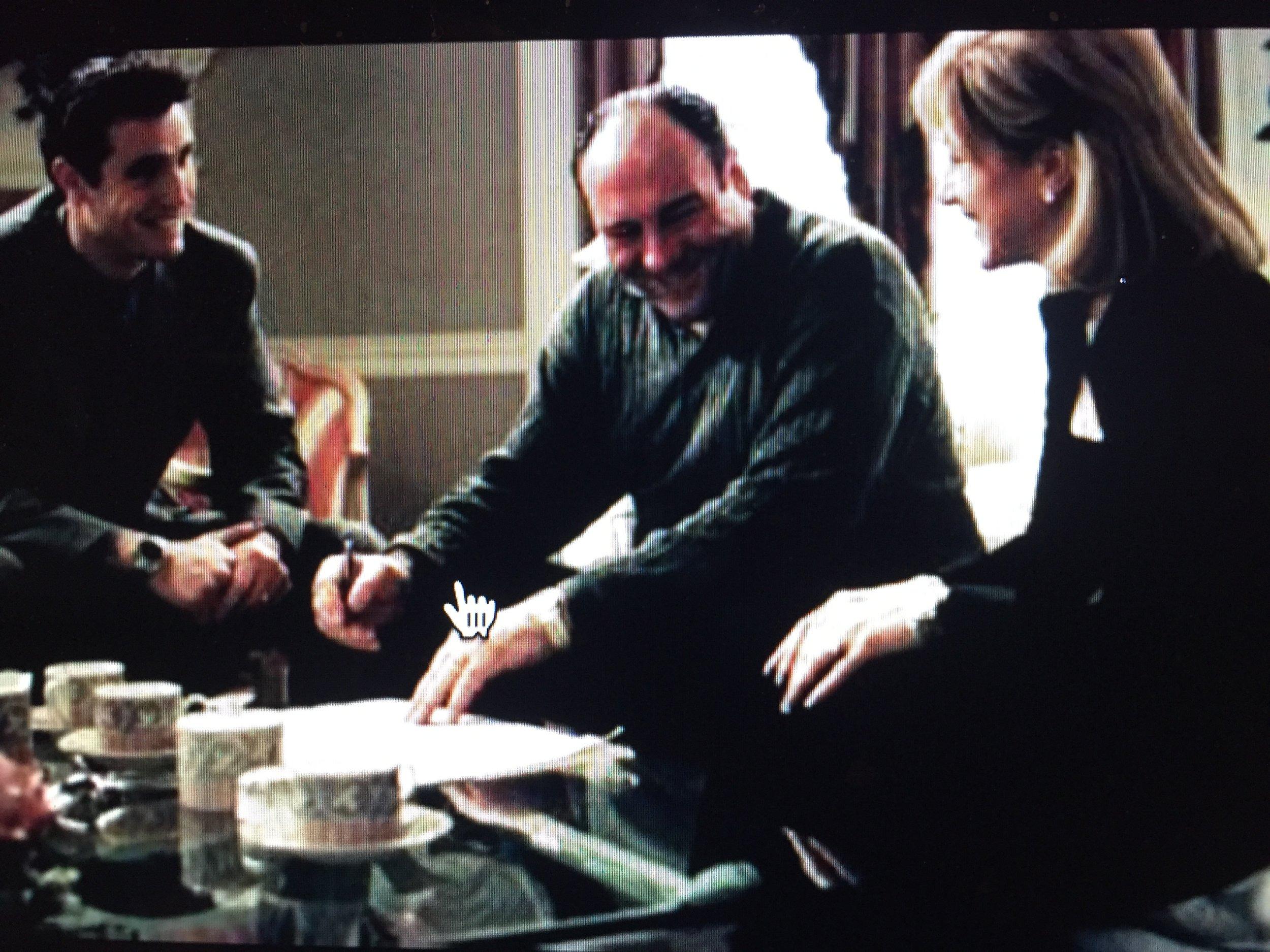 Matt (left) with James Gandolfini and Edie Falco on  The Sopranos
