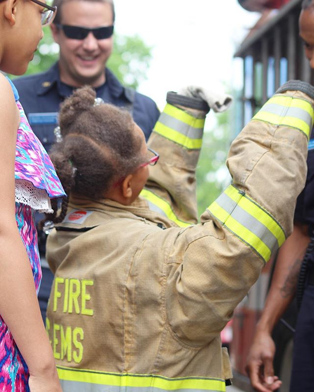 Shout out to the #dcfiredepartment for coming out and allowing our student to climb aboard a hooks and ladder truck and suit up in a firefighters uniform!