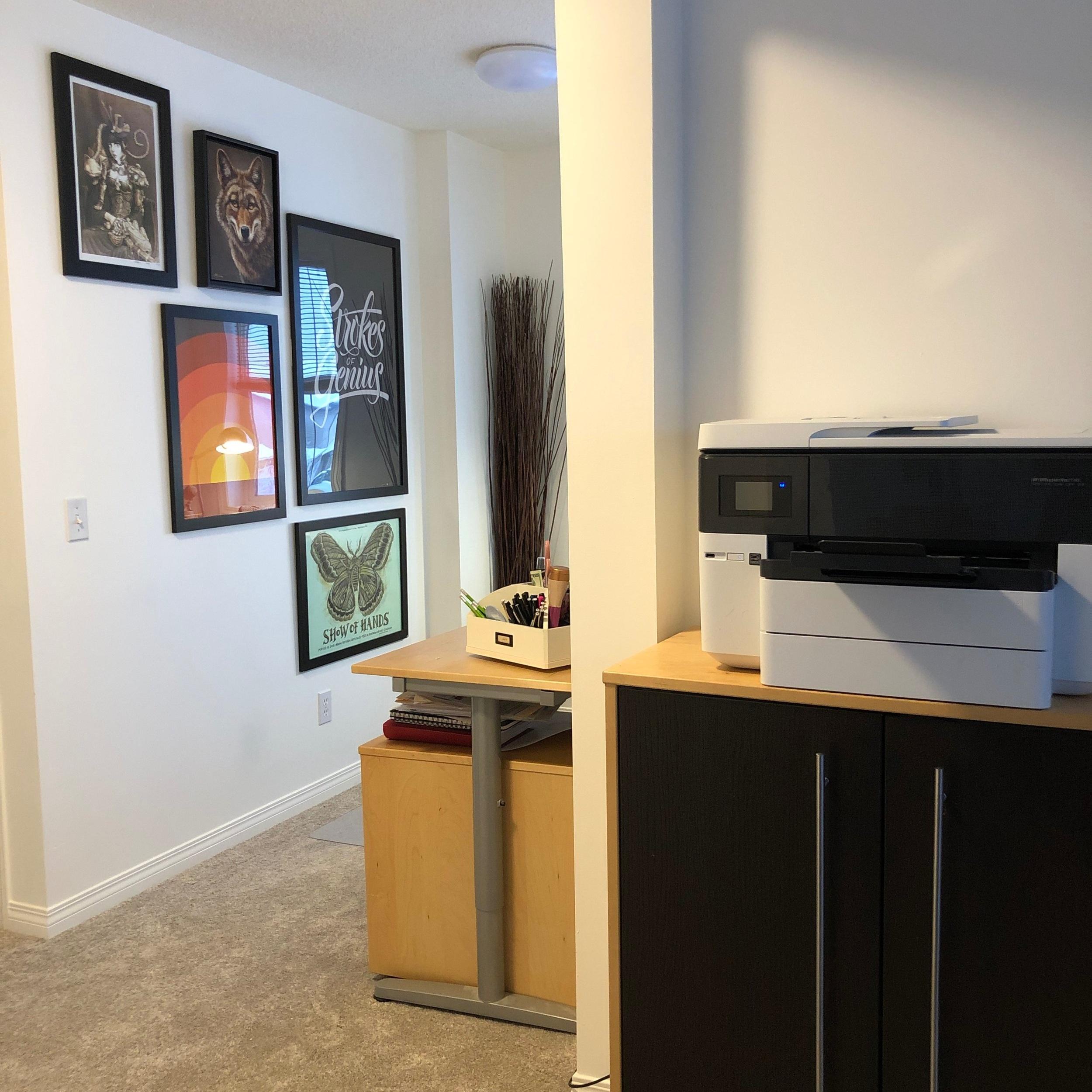 Kitty corner to my new office, my printer and storage.