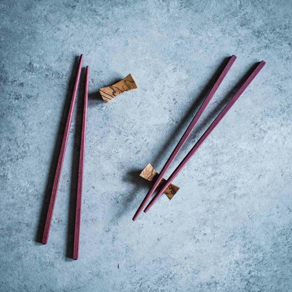 purple heart chop sticks w/ spalted maple rest