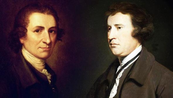 Thomas Paine (left) and Edmund Burke