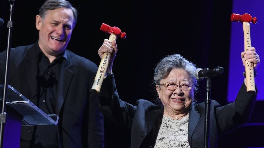 Hammers are the trophies for honorees of the annual Tribeca Disruptive Innovation Awards, here in 2018. PHOTO: GETTY IMAGES FOR BULLEIT