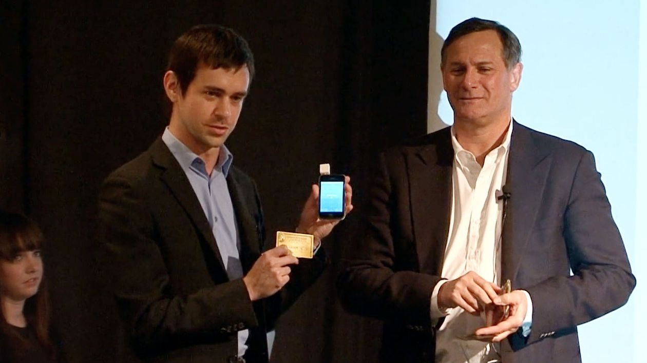 Jack Dorsey demonstrates Square using Craig Hatkoff's credit card during the 2010 awards. PHOTO: TRIBECA FILM FESTIVAL