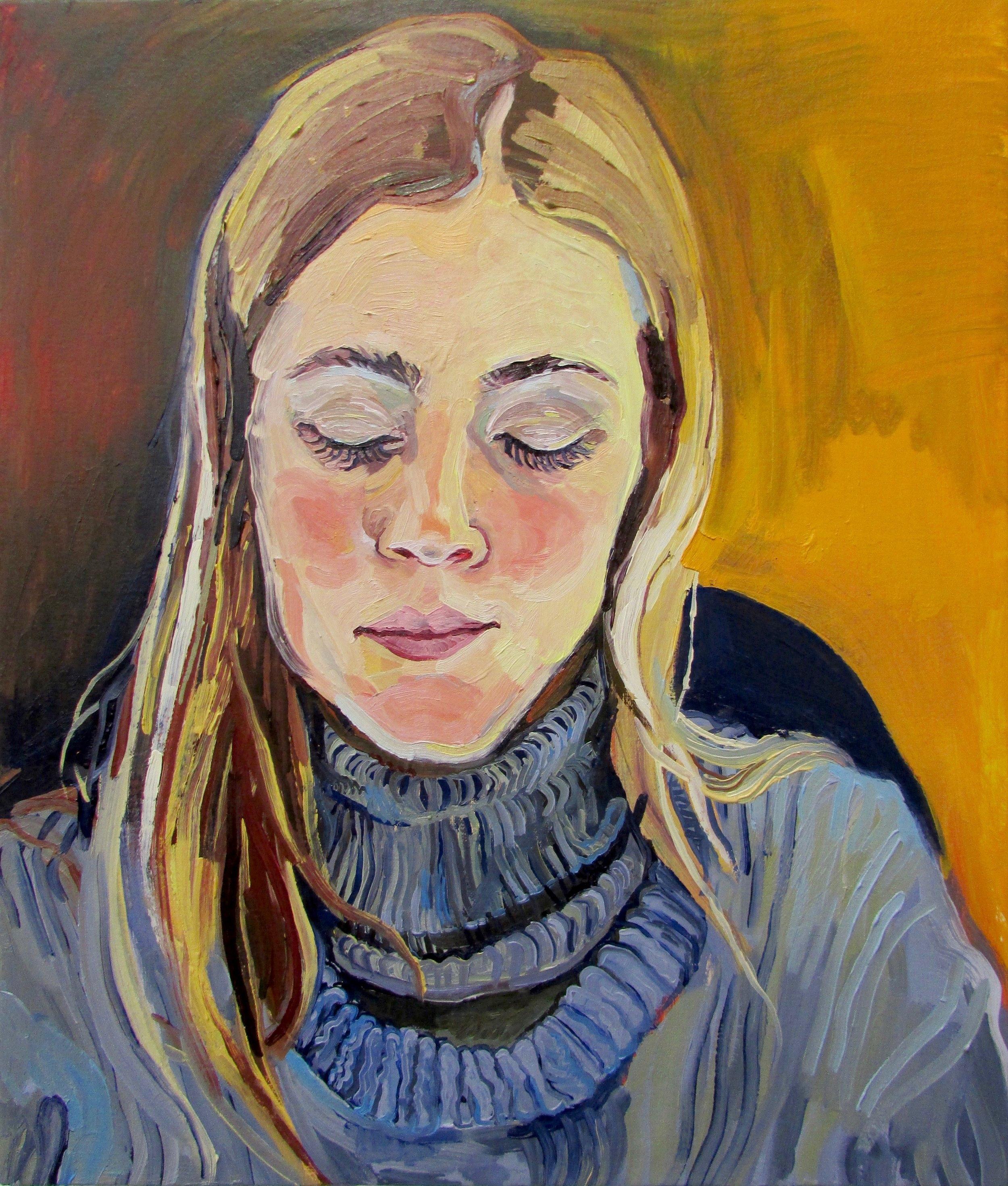 "Sleeper , 2016, Oil on canvas, 16 x 19"""