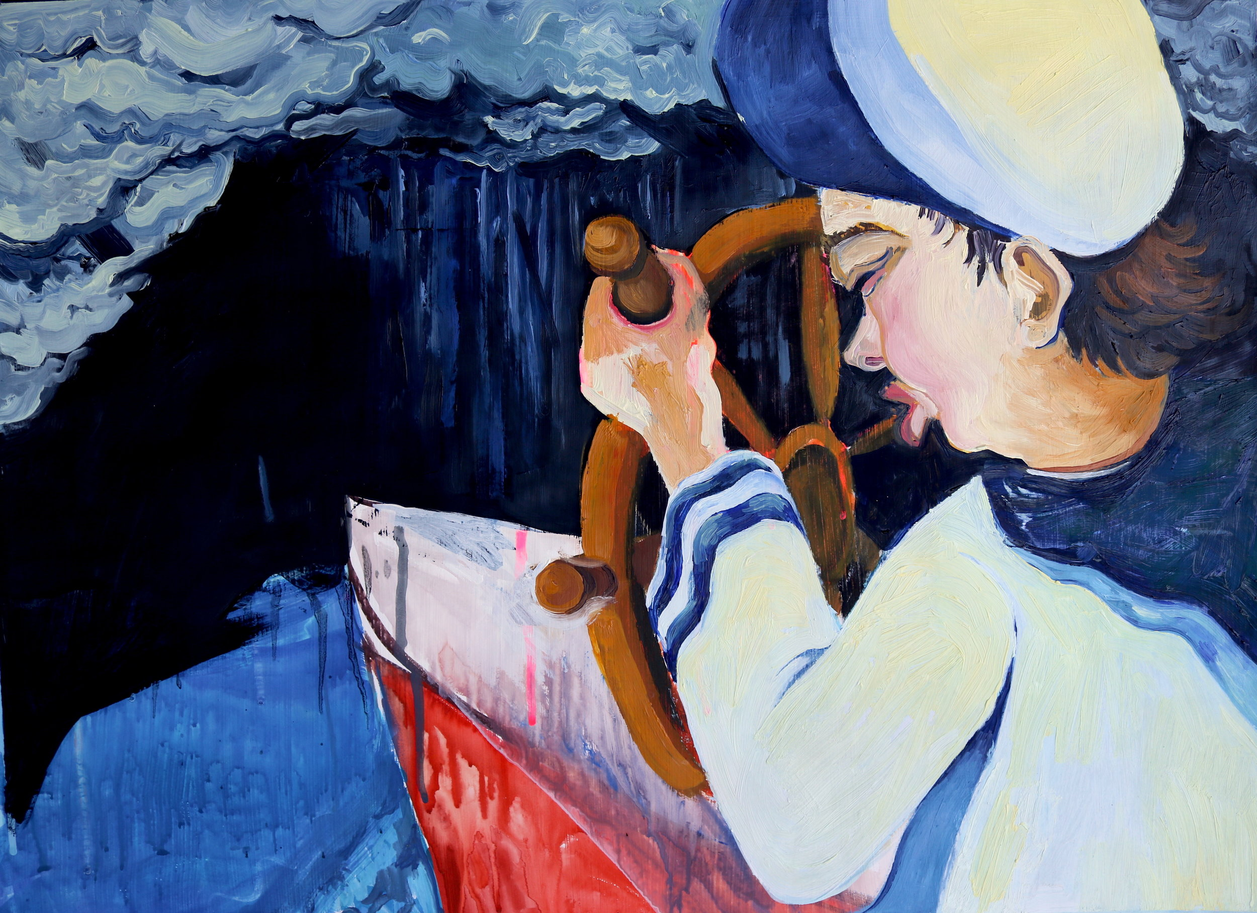"""Sail , 2016, Oil on Paper, 17.5 x 24"""""""
