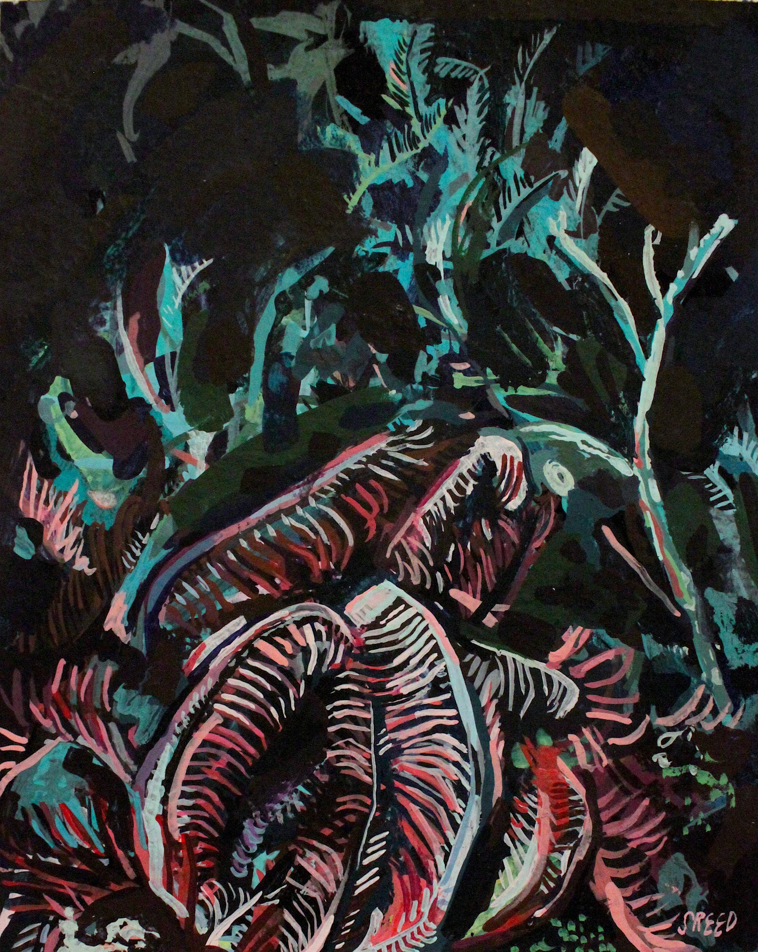 "Depths, 2017, Gouache on Paper, 4 x 5"""