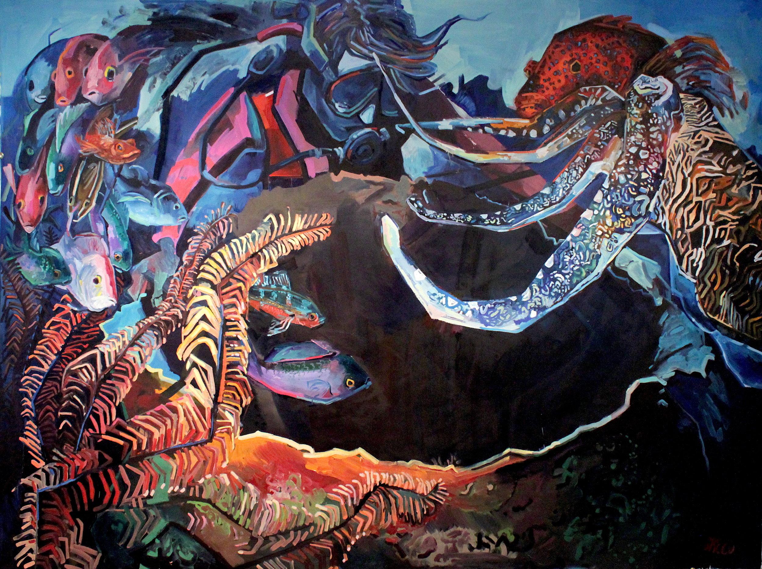 "New World, 2017, Oil on Canvas, 95 x 72"""