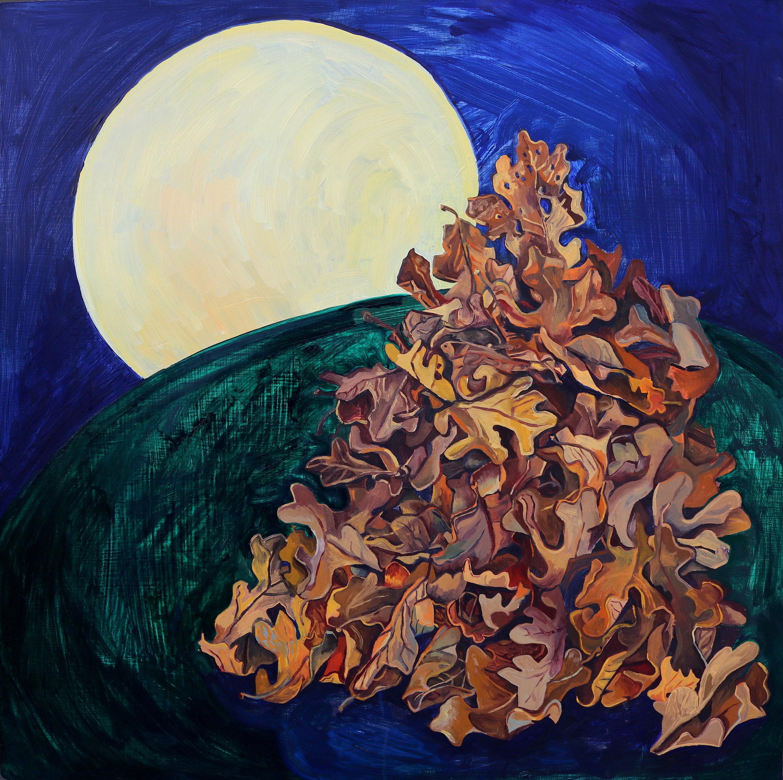 "Falling, 2016, Oil on Panel, 24 x 24"""