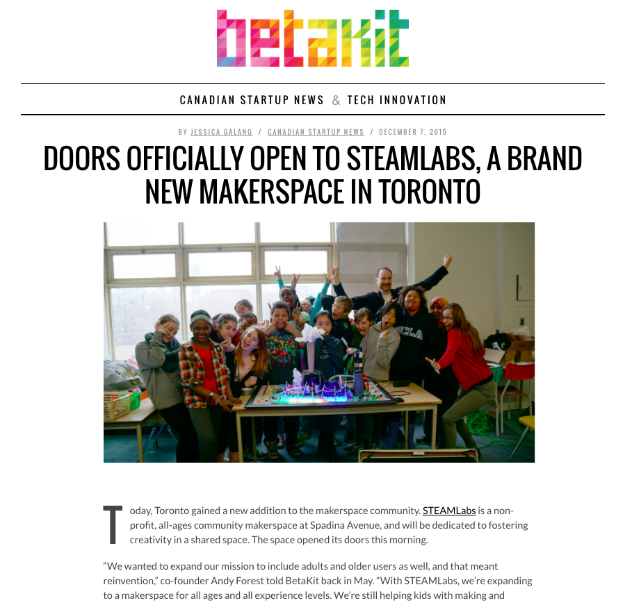 STEAMLabs featured in  betakit technology publication.
