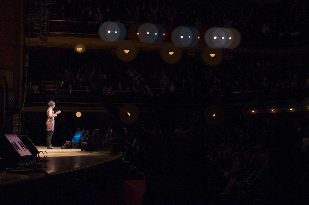 Marianne speaking at Chris Hadfield'  Generator Show
