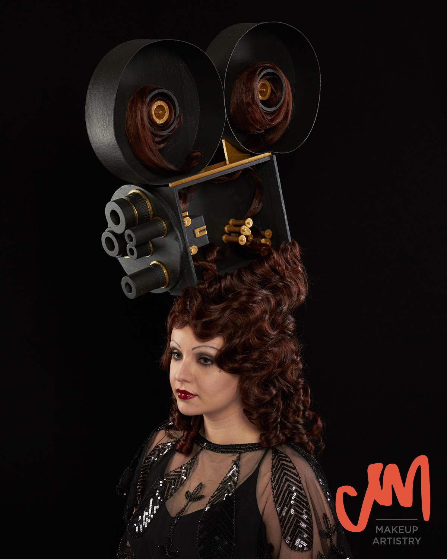 ship wig, custom wig, vintage hollywood camera, finger waves, 1930's, wig making, film camera