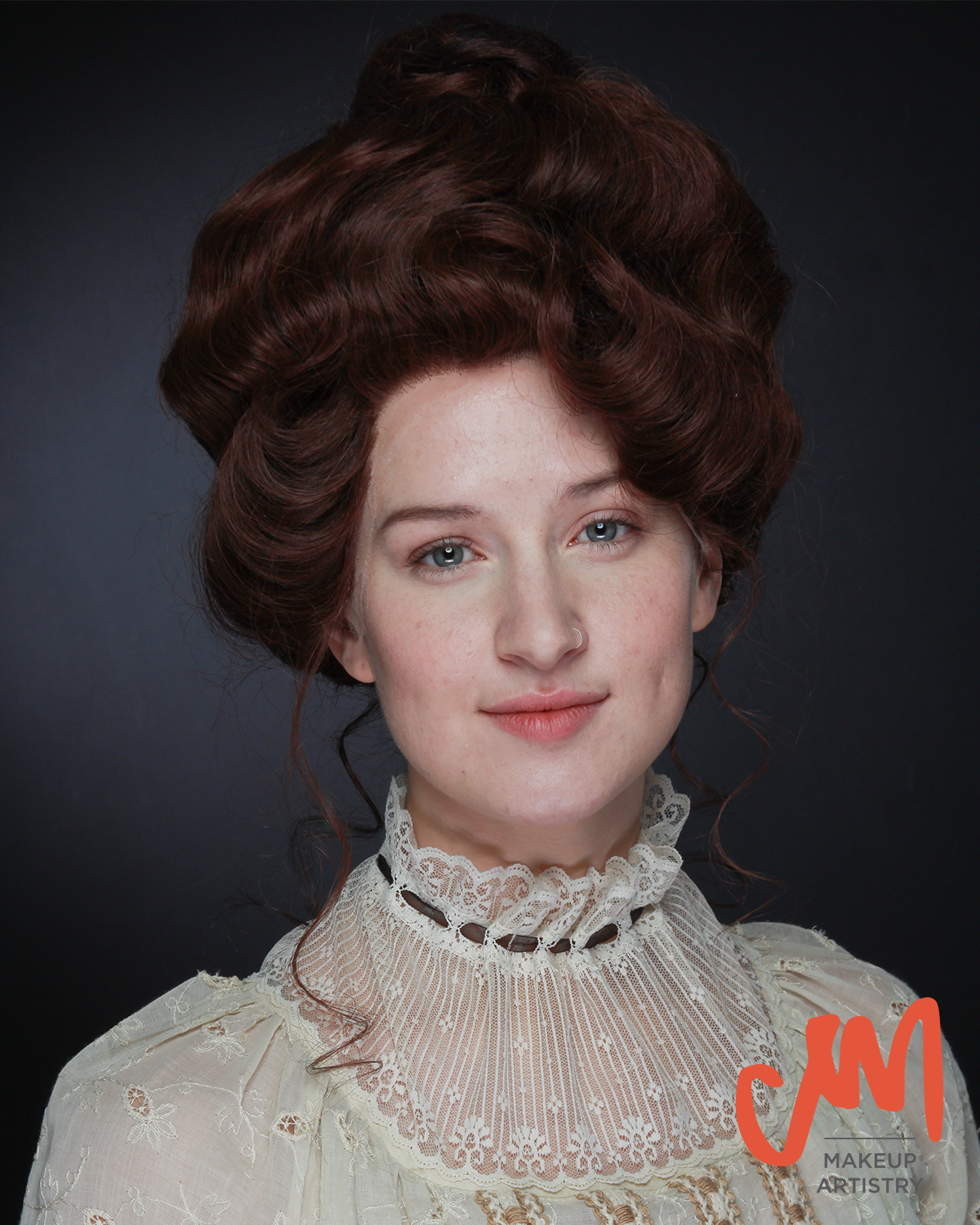 gibson, wig maker, period hairstyle, natural makeup, no makeup makeup, gibson girl, wig, charles dana gibson, super lace front wig