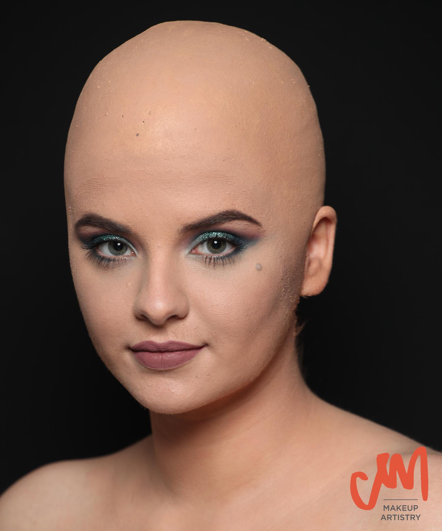 bald cap, special effects makeup, sfx, glamour makeup, claire mints, bald women