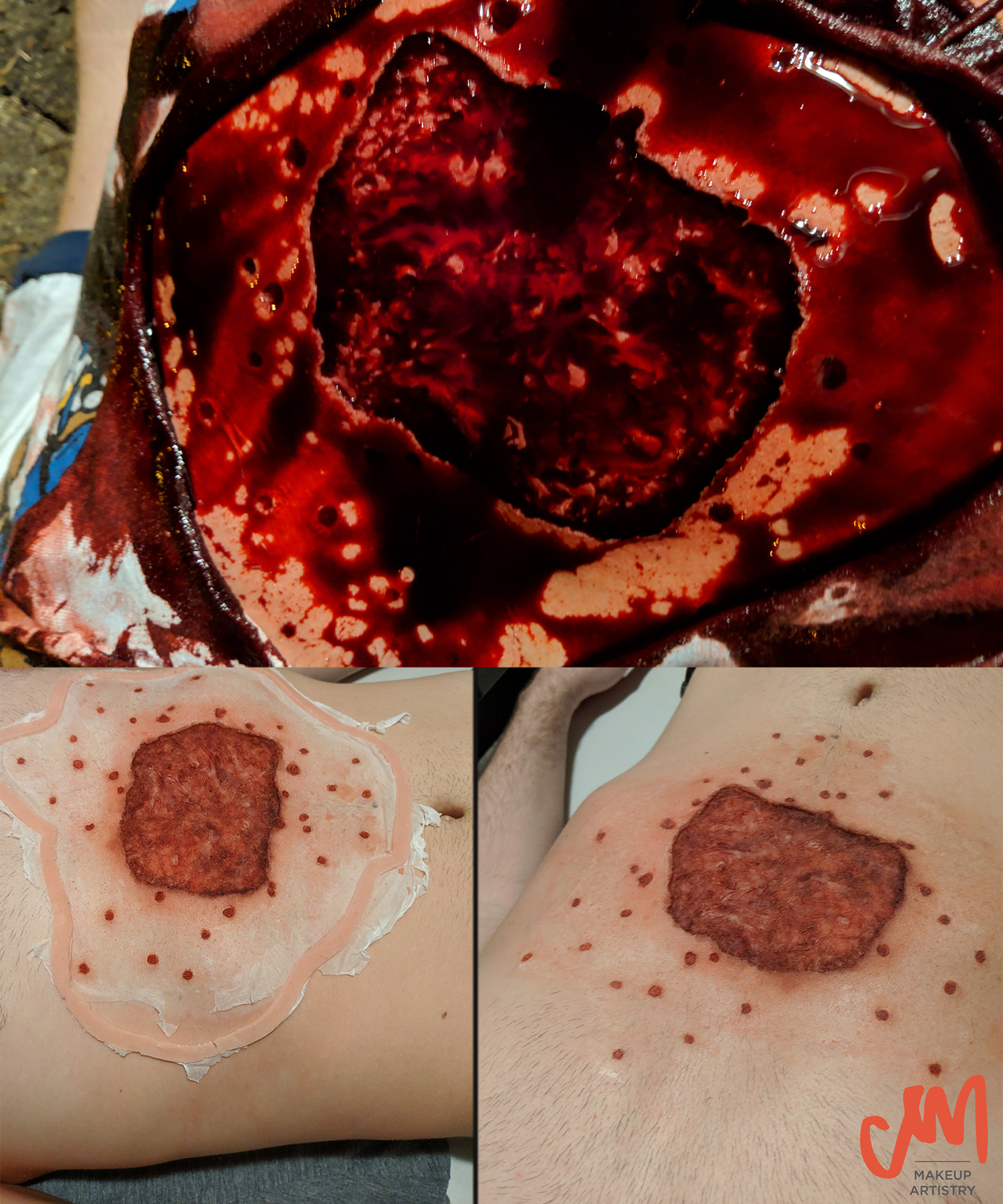 shotgun wound, encapsulated silicone, special effects makeup, blood and gore, makeup effects, sfx makeup, claire mints makeup artistry