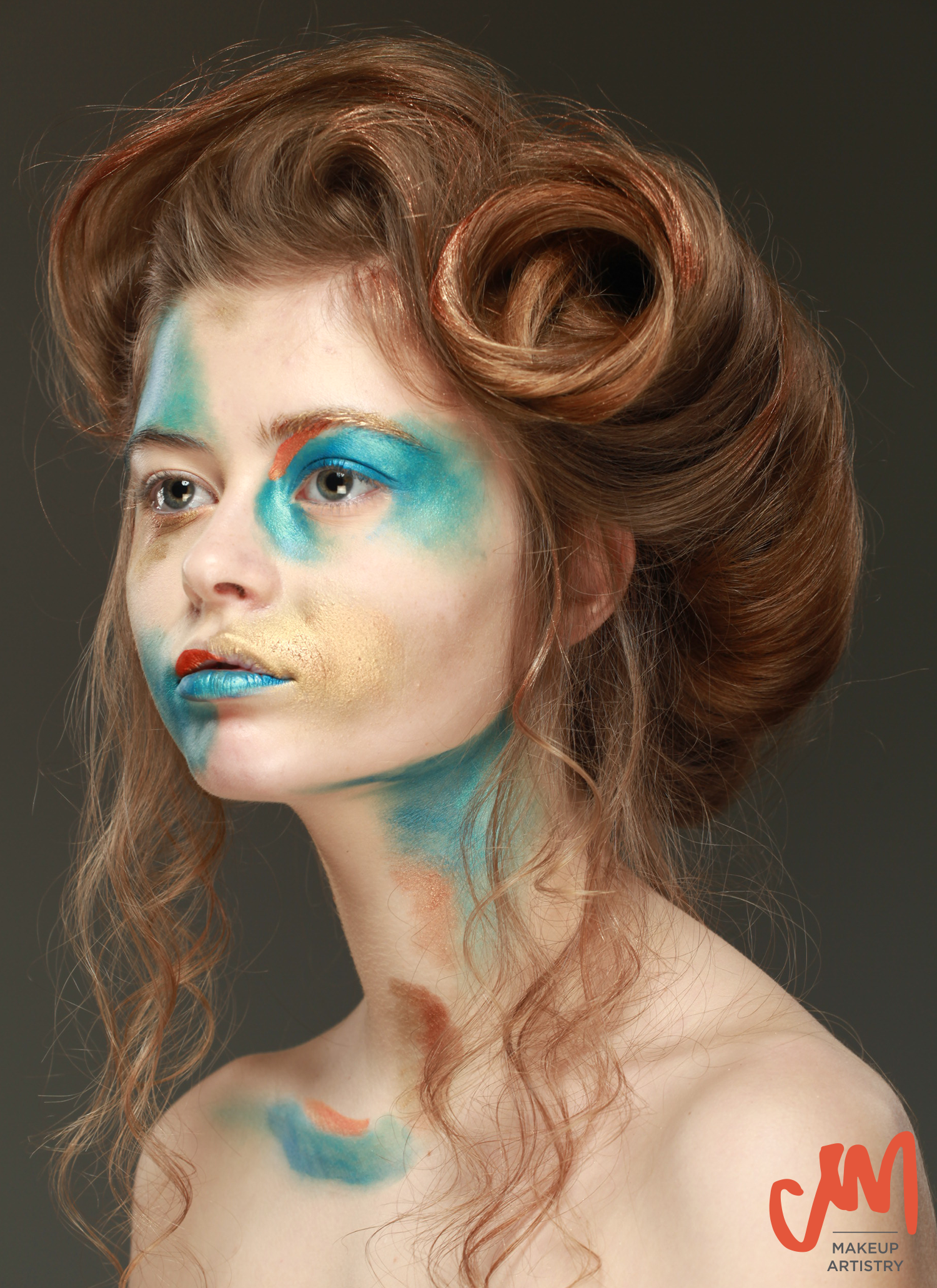 blue and copper painted editorial makeup look edwardian gipson girl