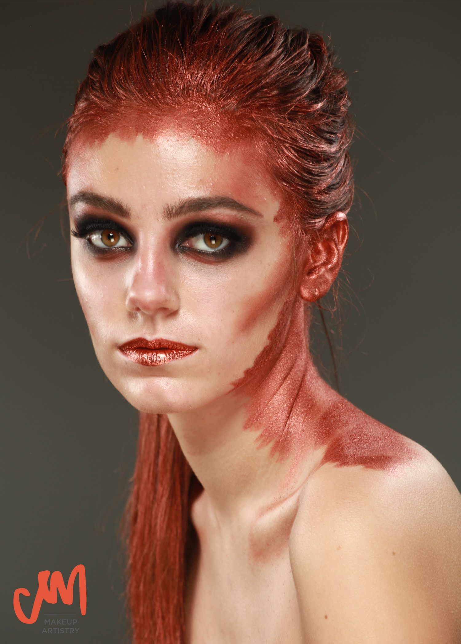 copper body paint editorial makeup look smokey eye