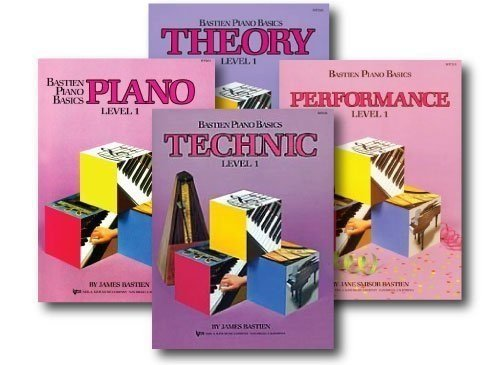 Bastien Piano Basics Level One  - Recommended for students with some prior piano experience. I do not use the theory book and opt to supplement theory with other exercises.
