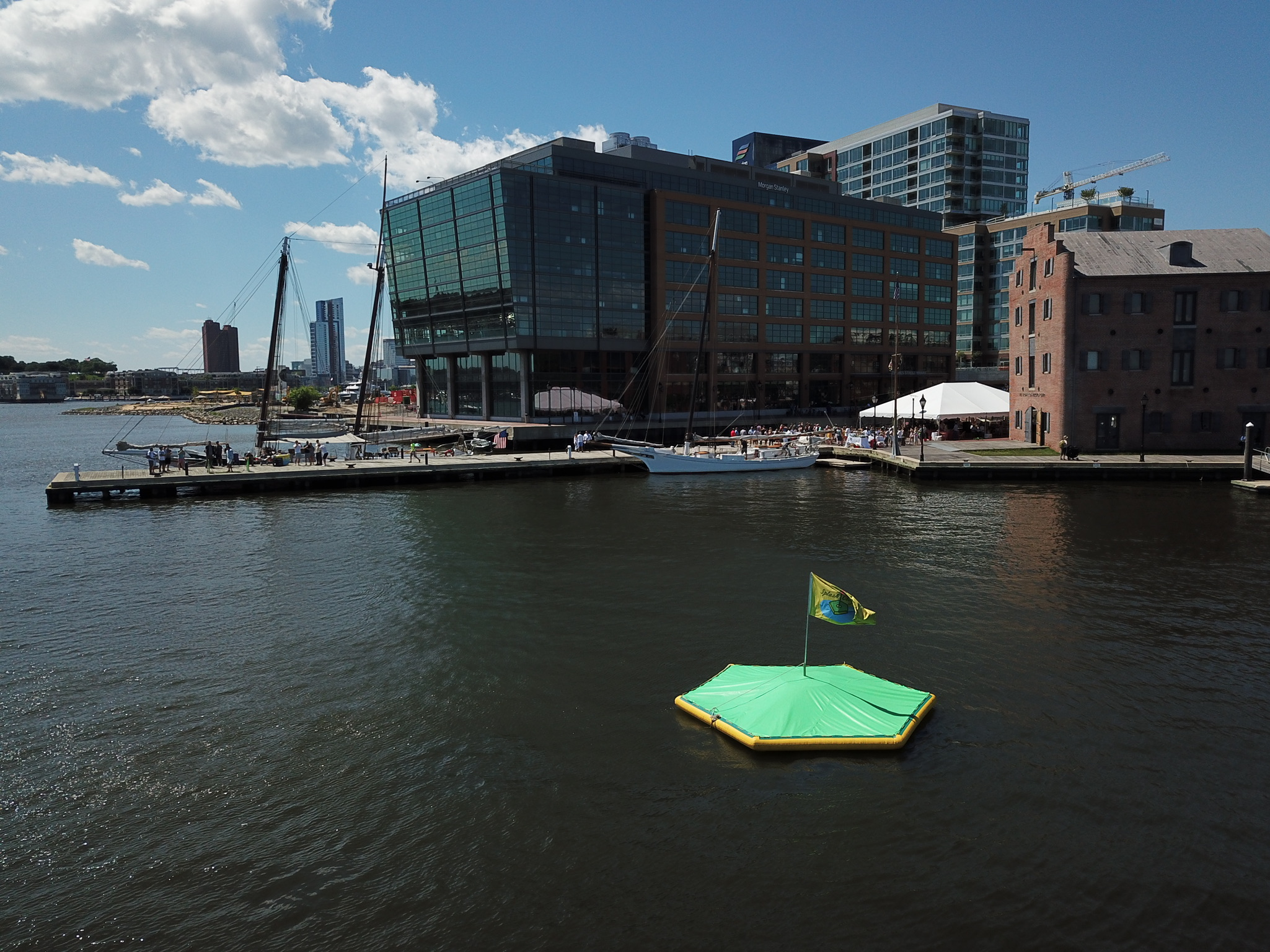 Hit biodegradable golf balls at a technology packed floating target at Frederick Douglass Maritime Park! Located in Fells Point, Maryland. Our waterfront driving ranges are great for corporate events, weddings, happy hours, and celebrations.