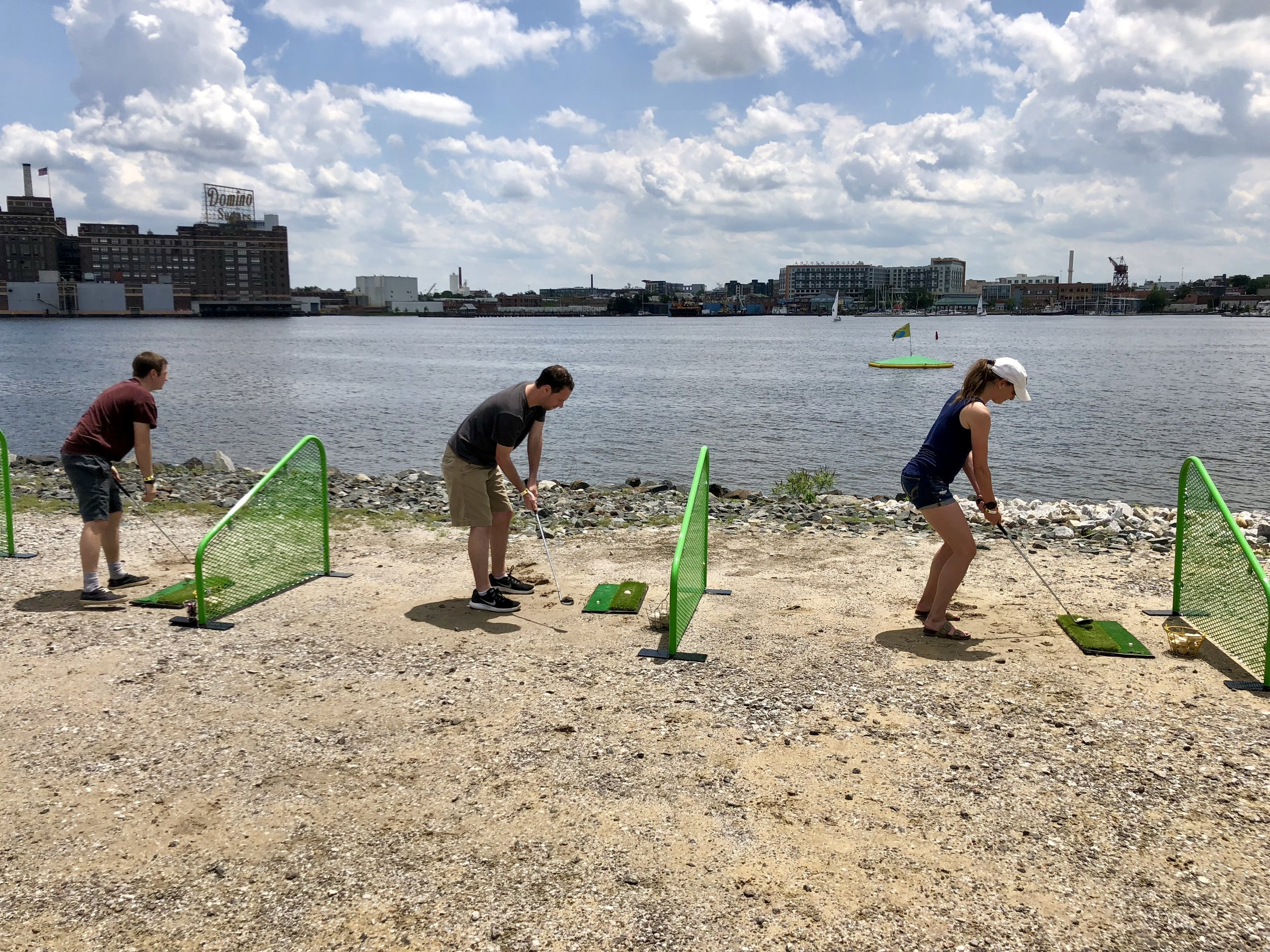 Our pop up waterfront driving ranges drive demand to commercial real estate developments like Beatty Development's Sandlot.