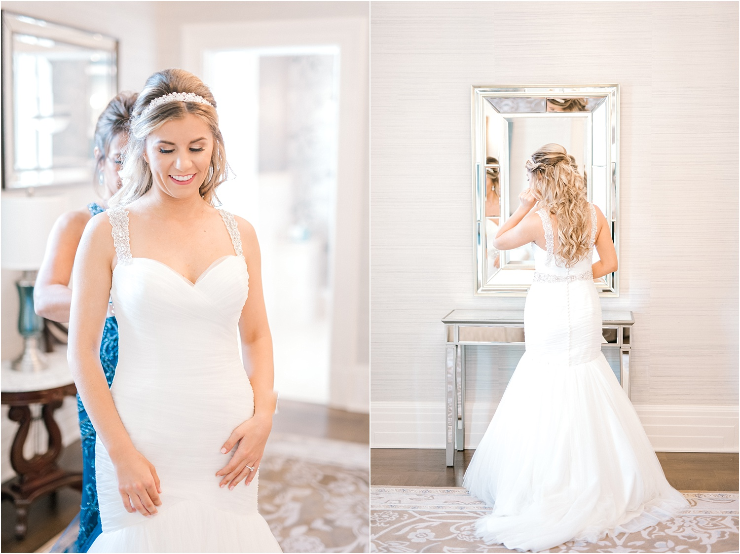new jersey bride getting dressed with mom