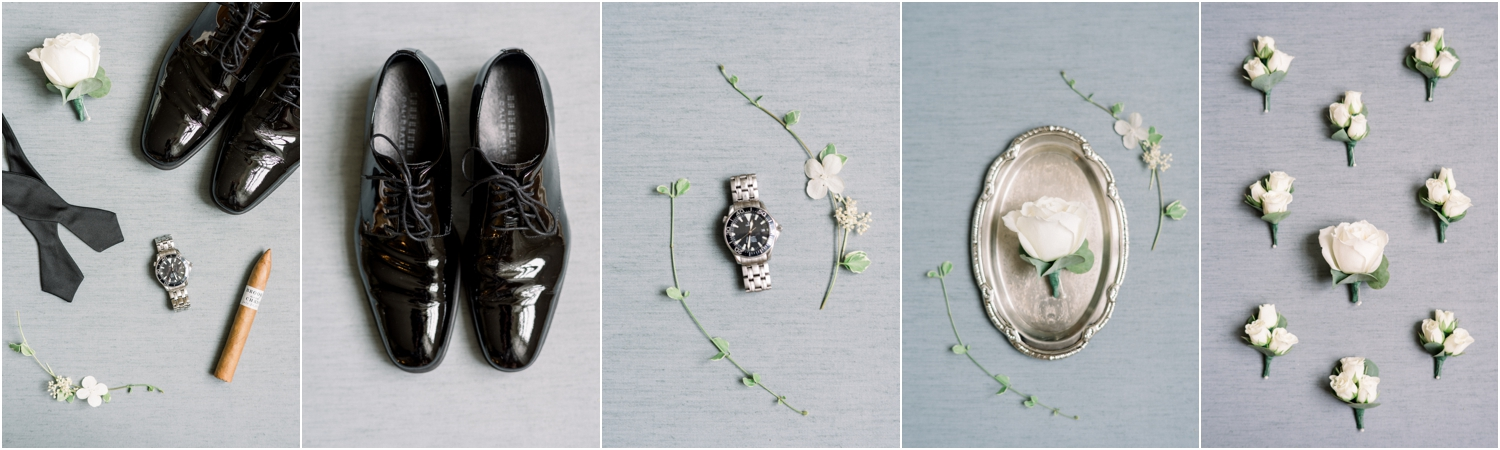 The first thing I do when I enter a groom's suite is say hello and ask for his details (his shoes, watch, cologne, the boutonnieres, tie, cufflinks, socks, vow books, gifts,and anything else sentimental he wants photographed.) I style groom details, just like the bride's- on a styling board!  I can provide one for you if you don't have one!  Now, all you have to do is find great light and the background is perfect! If I am indoors, I always position my board next to a window- with the light coming in on the left or right side of the frame. The light must be soft and never in harsh direct sunlight. If I am outside, I find open shade and shoot in there. I try to photograph things alone or in small groups and in a group. A 50mm around 2.0-3.5 is usually my jam!